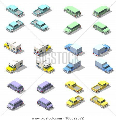 Vector isometric icon set of pickup truck. Isolated on a white background