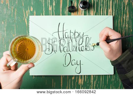 Man Having A Beer With Happy St Patrick Day Card