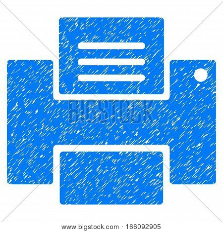 Printer grainy textured icon for overlay watermark stamps. Flat symbol with scratched texture. Dotted vector blue ink rubber seal stamp with grunge design on a white background.