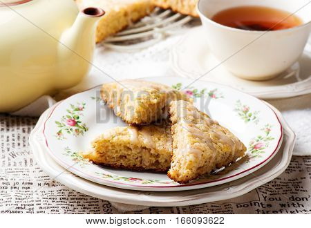 Banana Scones with Cinnamon Cream Cheese Glaze.selective focus