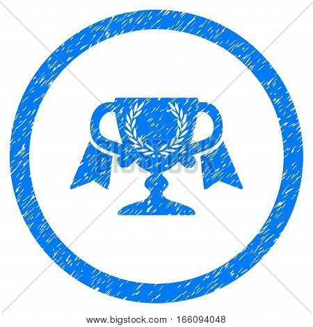 Rounded Award Cup rubber seal stamp watermark. Icon symbol inside circle with grunge design and scratched texture. Unclean vector blue emblem.