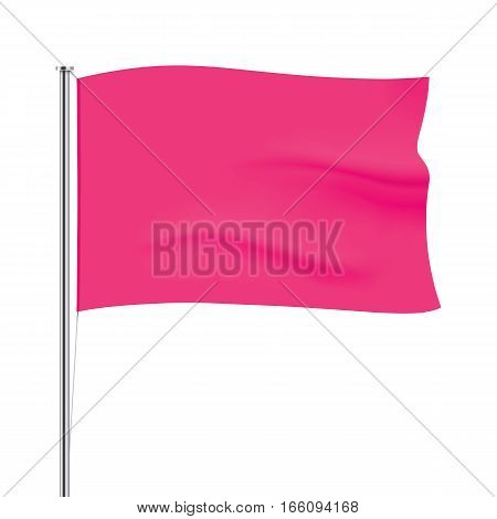 Pink vector flag isolated on background. Horizontal flag template. Realistic flag mockup.