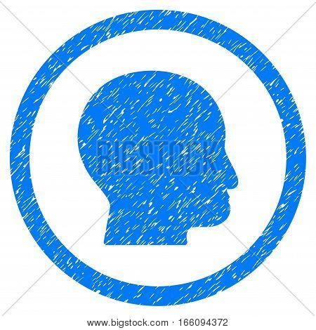 Rounded Bald Head rubber seal stamp watermark. Icon symbol inside circle with grunge design and dirty texture. Unclean vector blue sign.