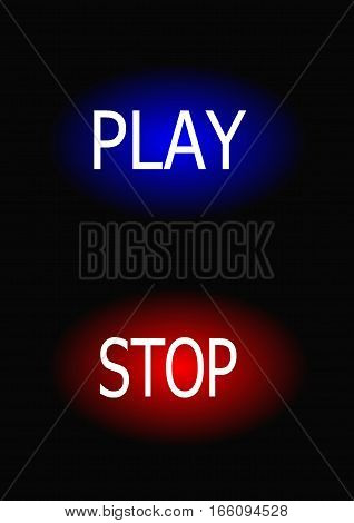 rectangular button and play tracks on a black background