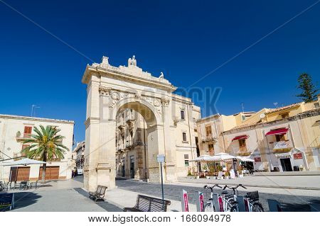 Noto, Italy - September 14, 2015: Royal Gate - Arch of Porta Reale in Noto, Sicily, Italy