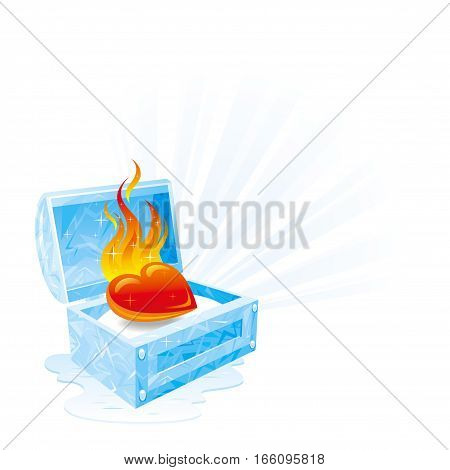 Happy Valentines day vector illustration, burning heart fire melts frozen ice chest. Romance, love banner, isolated frame white background. Cute romantic Valentine border. Abstract design. Flat sign