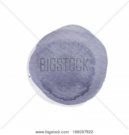 Ash cool gray watercolor circle isolated on white background. Wenge taupe gray colors round shape with watercolour stains. Watercolour texture for your design