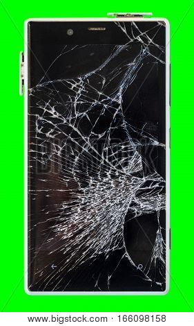 Smartphone with broken display Isolated on green chroma key background