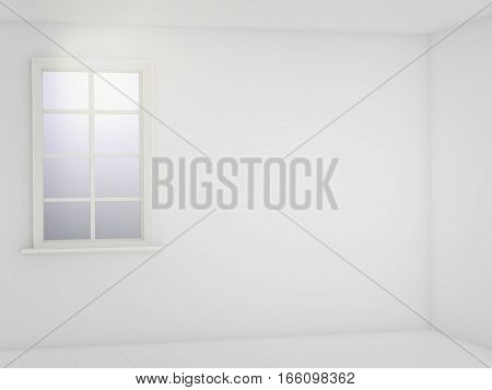 light white empty modern room. 3d rendering