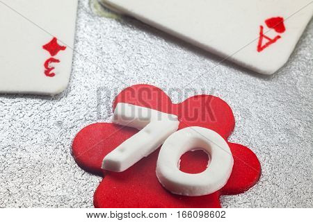 Decoration Of 70 Birthday Cake