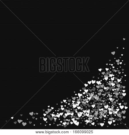 White Hearts Confetti. Bottom Right Corner On Black Valentine Background. Vector Illustration.