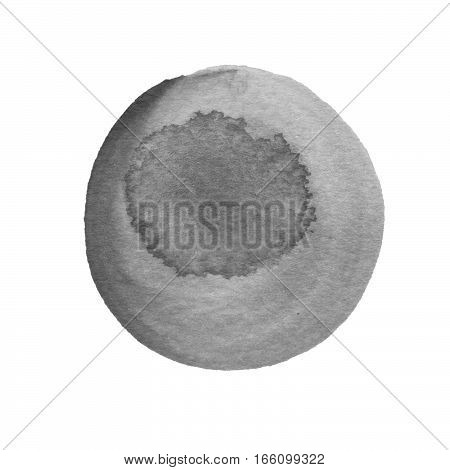 Ash cool gray watercolor circle isolated on white background. Silver taupe gray colors round shape with watercolour stains. Watercolour texture for your design