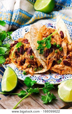 Slow Cooker Shredded Chicken Tex-Mex .selective focus