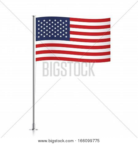 United states of America vector flag template. Waving USA flag on a metallic pole, isolated on a white background.