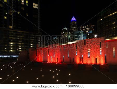The colorful skyline of Charlotte, North Carolina taken from Romare Bearden Park in the heart of uptown at night.