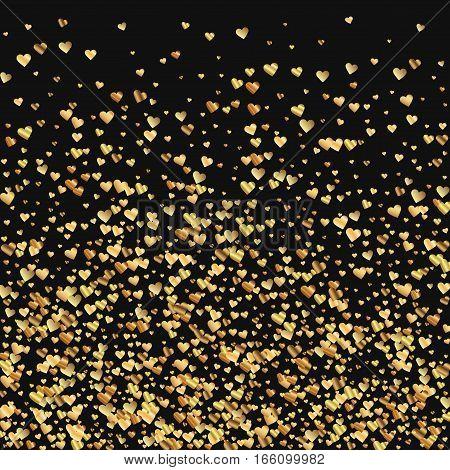 Gold Gradient Hearts Confetti. Bottom Gradient On Black Valentine Background. Vector Illustration.