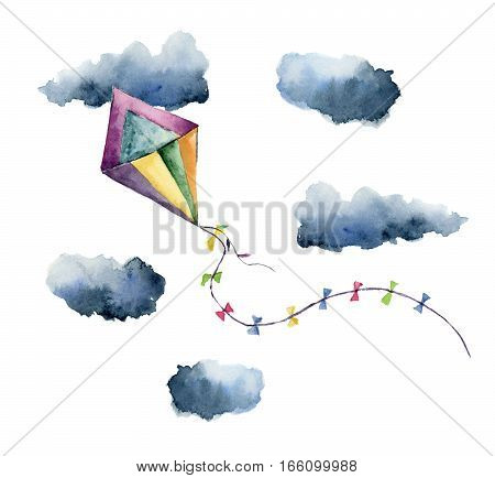 Watercolor kite air set. Hand painted vintage kite with clouds and retro design. Illustrations isolated on white background. For design or print