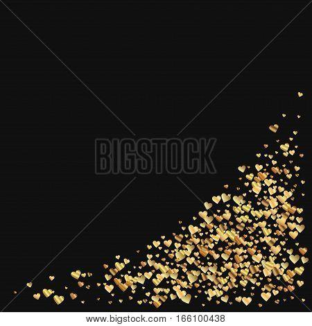 Gold Gradient Hearts Confetti. Bottom Right Corner On Black Valentine Background. Vector Illustratio