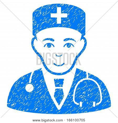 Physician grainy textured icon for overlay watermark stamps. Flat symbol with unclean texture. Dotted vector blue ink rubber seal stamp with grunge design on a white background.