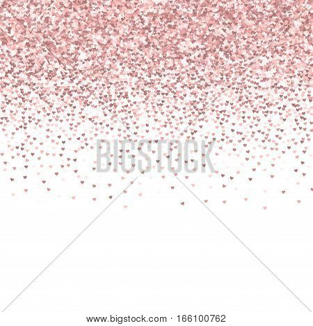 Pink Golden Glitter Made Of Hearts. Scatter Top Gradient On White Valentine Background. Vector Illus