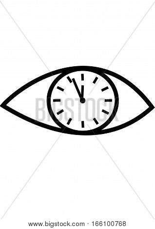 eye in which the clock,watch time.On a white background