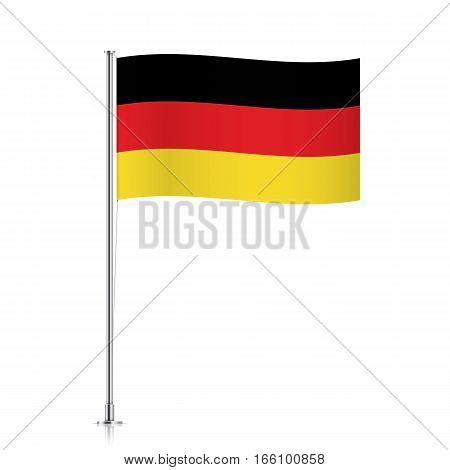 Germany vector flag template. Waving Deutschland flag on a metallic pole, isolated on a white background.