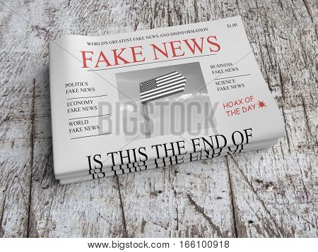 US Media Concept: Pile of Newspapers Fake News On Scratched Old Wood 3d illustration