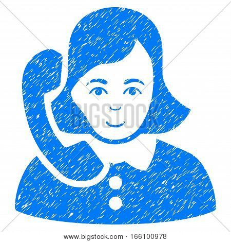 Receptionist grainy textured icon for overlay watermark stamps. Flat symbol with dirty texture. Dotted vector blue ink rubber seal stamp with grunge design on a white background.