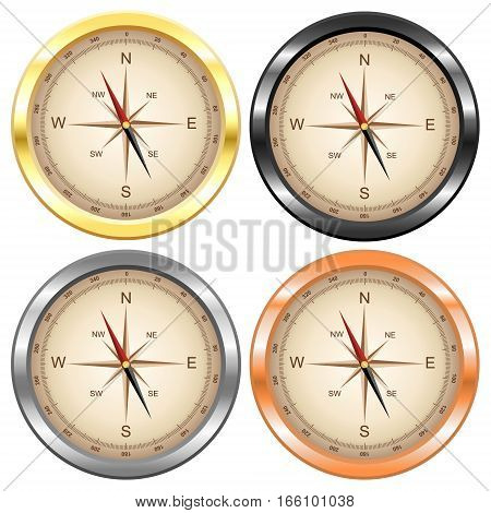 Compass four colors set gold dark platinum silver copper travel adventure
