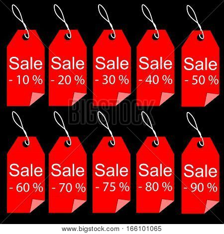 Shopping sale red tags labels set percent