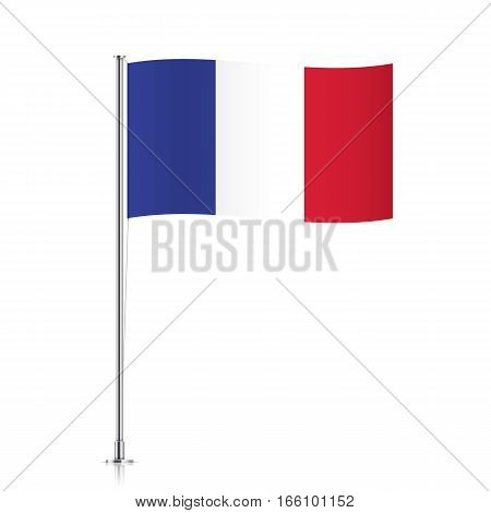 France vector flag template. Waving French flag on a metallic pole, isolated on a white background.