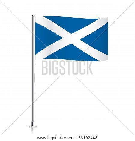Scotish vector flag template. Waving flag of Scotland on a metallic pole, isolated on a white background.