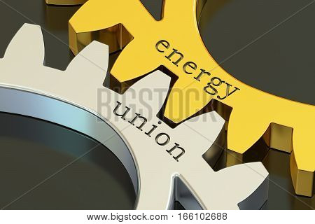 Energy Union concept on the gearwheels 3D rendering