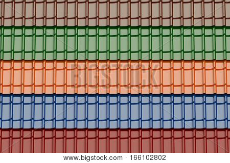 set of colored roof tiles background 3D rendering