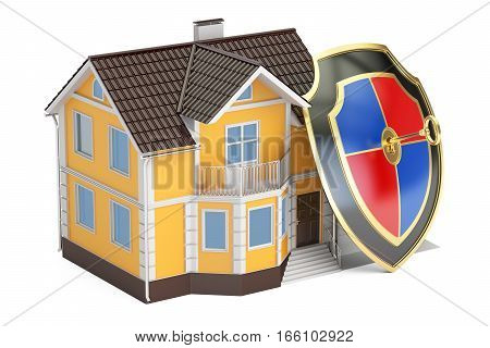 House security and protection concept home with shield. 3D rendering