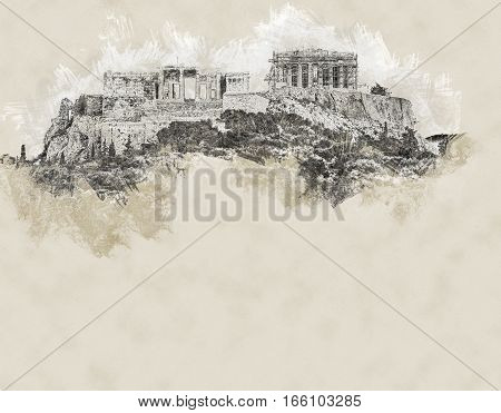 Parthenon and Herodium construction in Acropolis Hill in Athens, Greece. Modern Painting. Brushed artwork based on photo. Background texture.