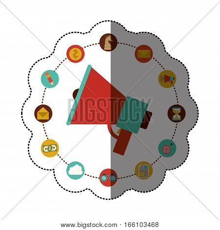 Megaphone and social media icon set. Amplifer speaker bullhorn and announce theme. Isolated design. Vector illustration