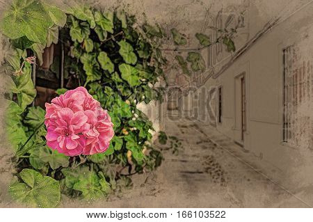 Beautiful White Walls Decorated with Colorful Flowers - Old European Town, Cordoba, Spain. Modern Painting. Brushed artwork based on photo. Background texture.