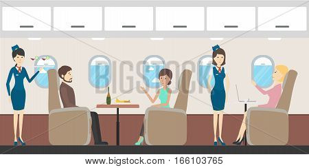 Airplane business class interior. Flying attendants and passengers. Seats with tables.