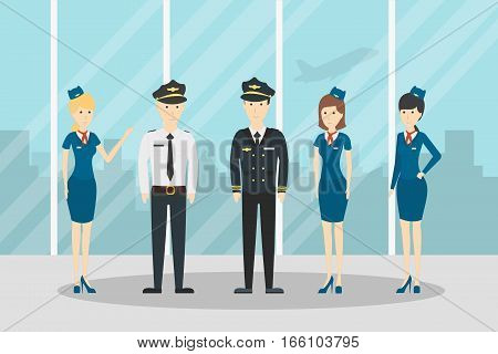Airplane flight crew. Pilot, capitan and flying attendants. Professional team in uniform.