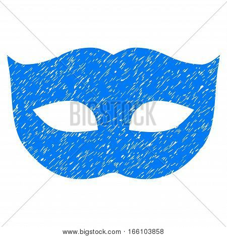 Privacy Mask grainy textured icon for overlay watermark stamps. Flat symbol with dust texture. Dotted vector blue ink rubber seal stamp with grunge design on a white background.