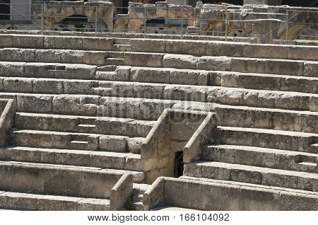 Details of the steps of the ancient Roman amphitheater in Lecce