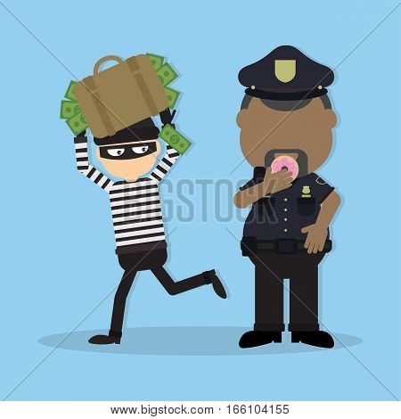 Thief and police officer. Funny cartoon thief in black mask stealing a bag. Fat police officer with donut.
