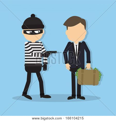 Thief with a gun. Funny cartoon thief in black mask stealing a bag. Concept of fraud, crime and blackmail.