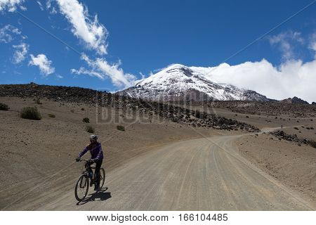 July 25, 2016 Chimborazo, Ecuador: a biker is descending on the high altitude road from the base of the highest volcano in the country