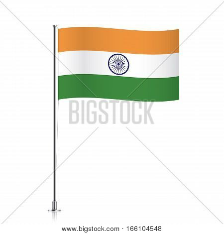 Indian vector flag template. Waving flag of India on a metallic pole, isolated on a white background.