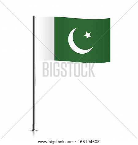 Pakistani vector flag template. Waving flag of Pakistan on a metallic pole, isolated on a white background.