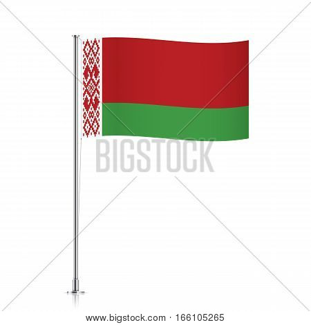 Belorussian vector flag template. Waving flag of Belarus on a metallic pole, isolated on a white background.
