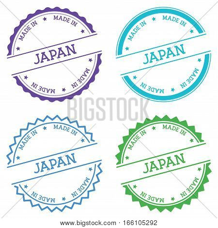Made In Japan Badge Isolated On White Background. Flat Style Round Label With Text. Circular Emblem
