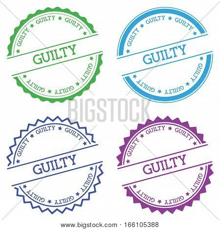 Guilty Badge Isolated On White Background. Flat Style Round Label With Text. Circular Emblem Vector